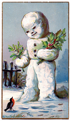 Vintage Christmas Graphic – Snowman with Holly