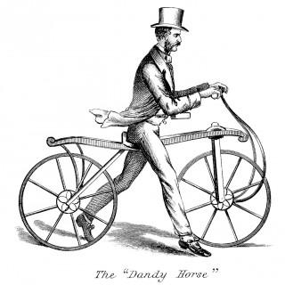 Free Vintage Image Download – Unusual Walking Bicycle