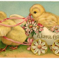 Stock Image - Easter Chicks in Egg Cart - The Graphics Fairy