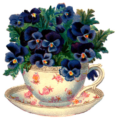 Vintage Graphic – Beautiful Teacup with Pansies