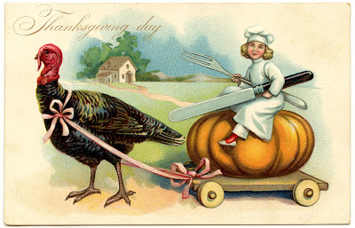 Vintage Thanksgiving Image – Chef with Turkey