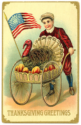 Vintage Thanksgiving Image – Boy with Patriotic Turkey