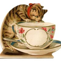 Vintage Image - Cat with Tea Cup
