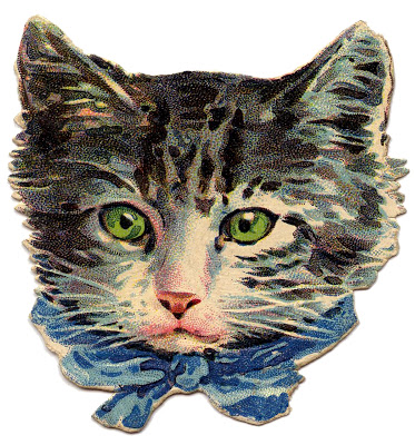 Vintage Image – Kitty Cat with Green Eyes