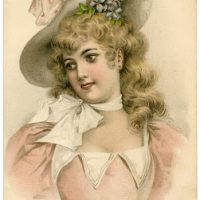 Vintage Lady Image with Easter Bonnet - The Graphics Fairy