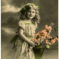 Old Photo - Pretty Little Garden Girl