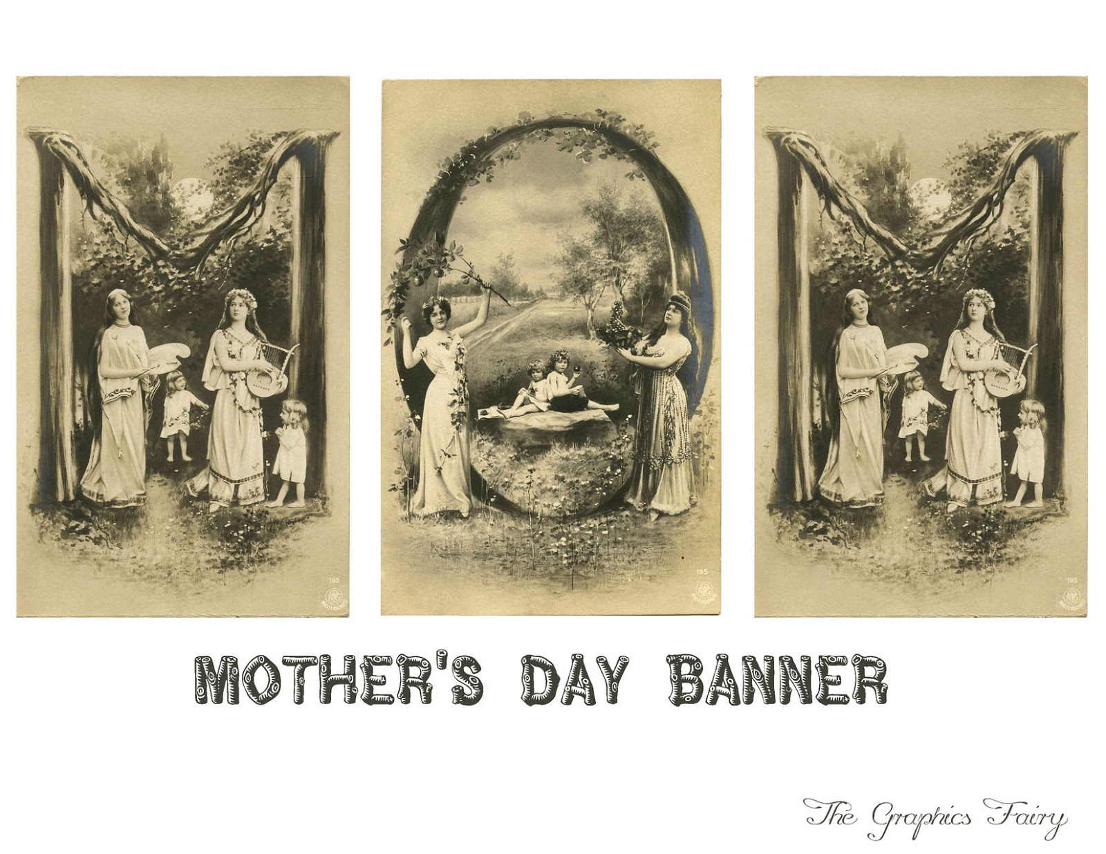Vintage Printable Mothers Day Alphabet Card Banner