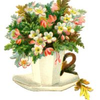 Vintage Teacup Image - Flowers - Mother