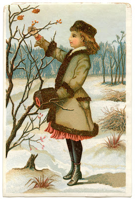 Antique Graphic Winter Girl The Graphics Fairy
