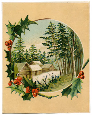 Antique Image – Winter Scene & Holly Frame