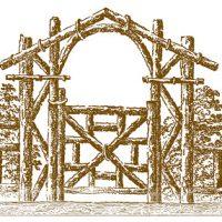 Vintage Images - Picturesque Log Fence - Gate - Graphics Fairy