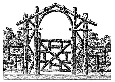 Vintage Images - Picturesque Log Fence - Gate Black White