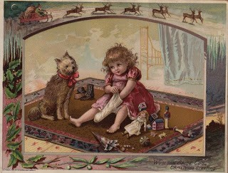 Girl with Dog, Doll and Stocking