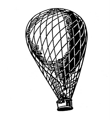 Vintage Clip Art – Transportation – Balloon, Airship, Aeroplane