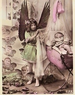 Vintage Photo Postcard – Angel & Cherubs