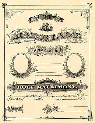Antique Ephemera Clip Art – Printable Marriage Certificate