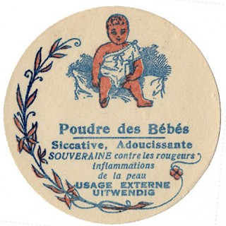 Adorable French Baby Powder Label
