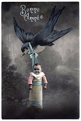 Adorable French Postcard – Baby Flying with Bird
