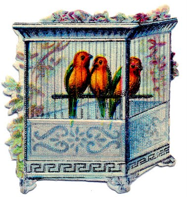 Victorian Clip Art – Birds in Pretty Cage