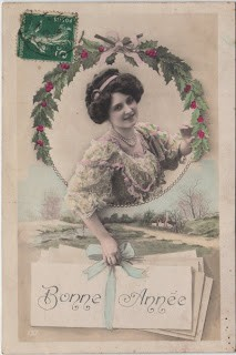 Bonne Annee- French Woman With Holly