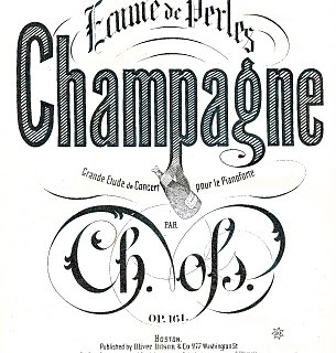 Free Antique Clip Art – Sheet Music Cover – Champagne