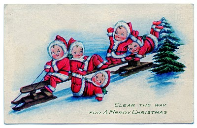 Vintage Christmas Clip Art Baby Santas On Sled The