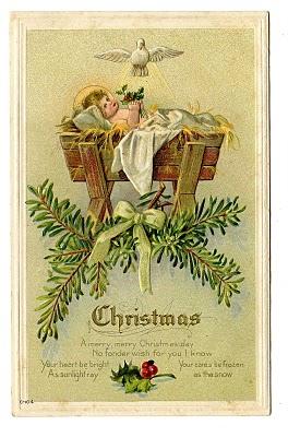 Vintage Christmas Clip Art Baby Jesus in Manger The