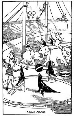 Vintage Kids Printable – 3 Ring Circus Coloring Page