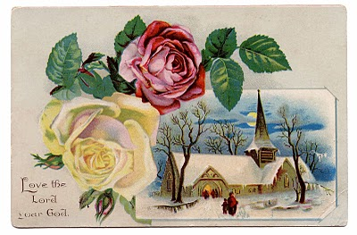 Vintage Clip Art – Winter Church Scene with Roses