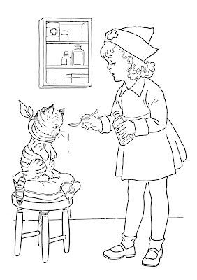Kids Vintage Printable Coloring Page Lil Nurse The