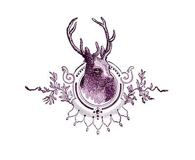 Vintage Christmas Image – Deer Head Engraving