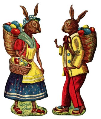 Easter Bunnies with Baskets on Backs