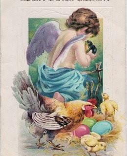 Vintage Easter Clip Art – Cherub with Bird