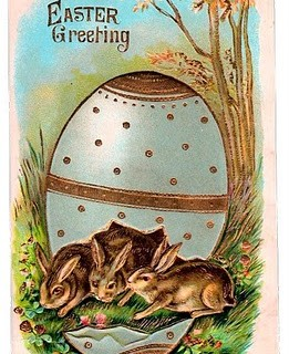 Free Victorian Graphic – Easter Bunnies in Egg
