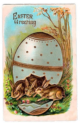 free victorian graphic   easter bunnies in egg   the