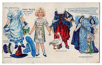 Vintage Kids Printable – Fairy Tale Paper Doll Postcard
