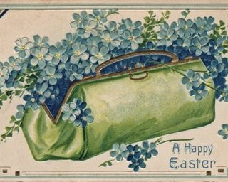 Vintage Easter Graphic – Cute Purse with Flowers