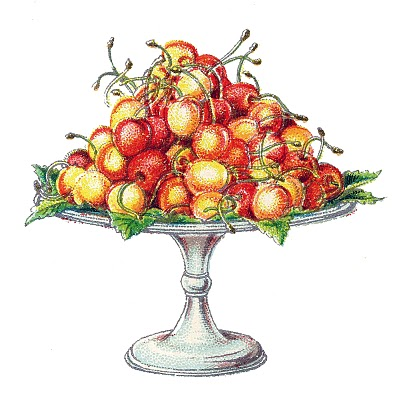 Vintage Graphic Image – Cherries on a Cake Plate