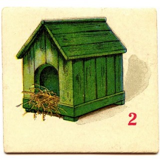 Free Clip Art – Vintage Game Cards – Dog House, Bike, Boat