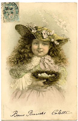 Antique Graphic – Darling Girl with Nest and Eggs