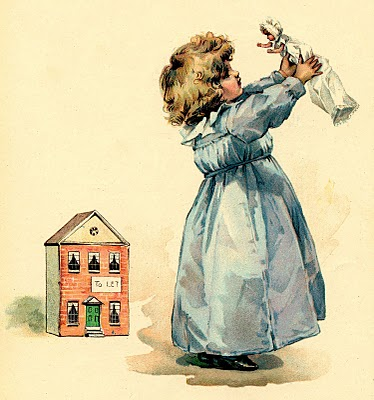 Little Girl with Doll and Doll House