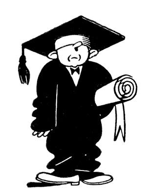 Quirky Retro Graduate Clip Art – Education