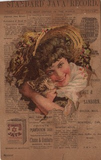 Girl w/Cat Trade Card
