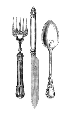 Vintage Kitchen Clip Art Fork Knife Spoon The