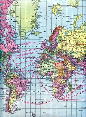 Vintage Clip Art – World Maps – Printable Download