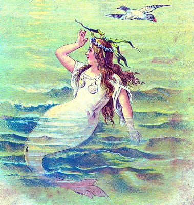 Vintage Clip Art – Beautiful Mermaid