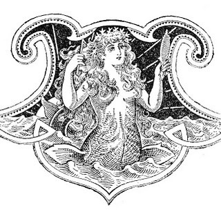 Free Antique Clip Art – Beautiful Mermaid