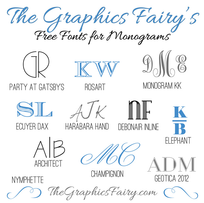 Favorite free fonts for creating monograms  //  The Graphics Fairy