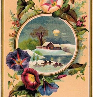 Victorian Graphic – Morning Glories & House
