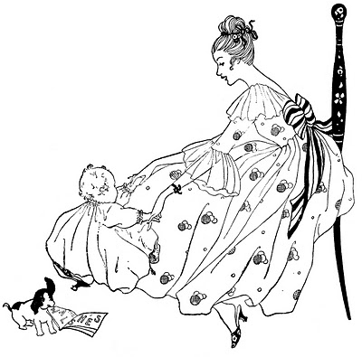 Vintage Clip Art – Beautiful Mother with Baby